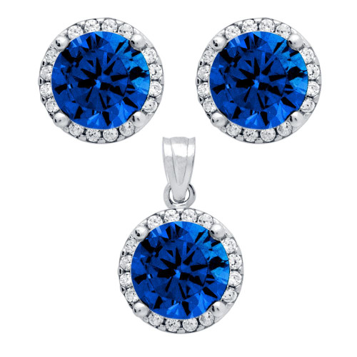 RHODIUM PLATED SET: BLUE 7.5MM ROUND CZ EARRINGS AND PENDANT WITH CZ HALO