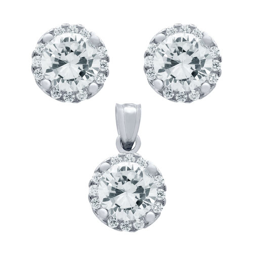 RHODIUM PLATED SET: 6.5MM ROUND CZ EARRINGS AND PENDANT WITH CZ HALO