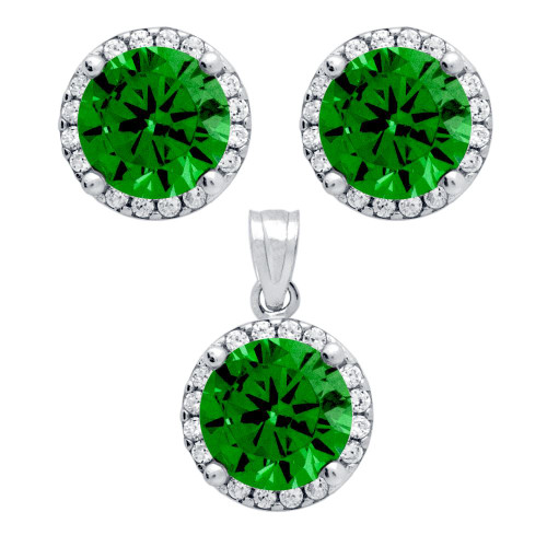 RHODIUM PLATED SET: GREEN 7.5MM ROUND CZ EARRINGS AND PENDANT WITH CZ HALO