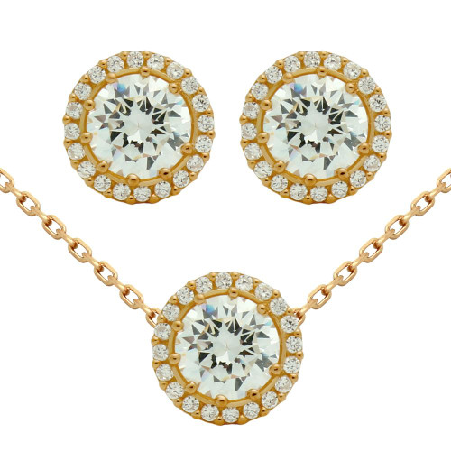 """ROSE GOLD PLATED SET: 7.5MM ROUND CZ EARRINGS AND 16+2"""" NECKLACE"""