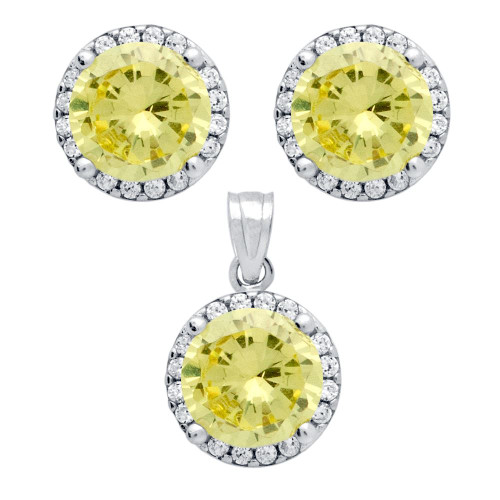 RHODIUM PLATED SET: LIGHT YELLOW 7.5MM ROUND CZ EARRINGS AND PENDANT WITH CZ HALO