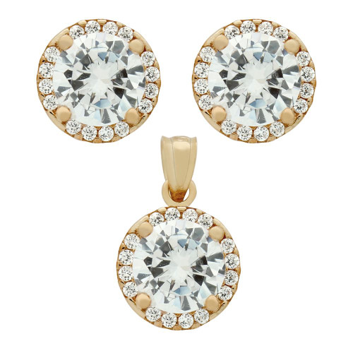 ROSE GOLD PLATED SET: 7.5MM ROUND CZ EARRINGS AND PENDANT WITH CZ HALO