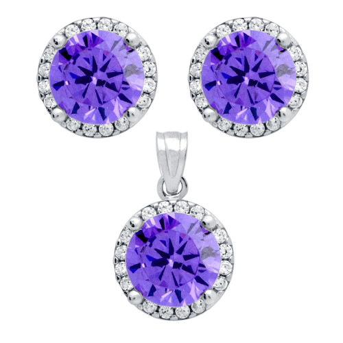RHODIUM PLATED SET: PURPLE 7.5MM ROUND CZ EARRINGS AND PENDANT WITH CZ HALO