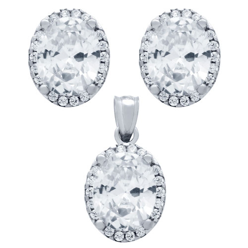 RHODIUM PLATED SET: 8X10MM OVAL CZ EARRINGS AND PENDANT WITH CZ HALO