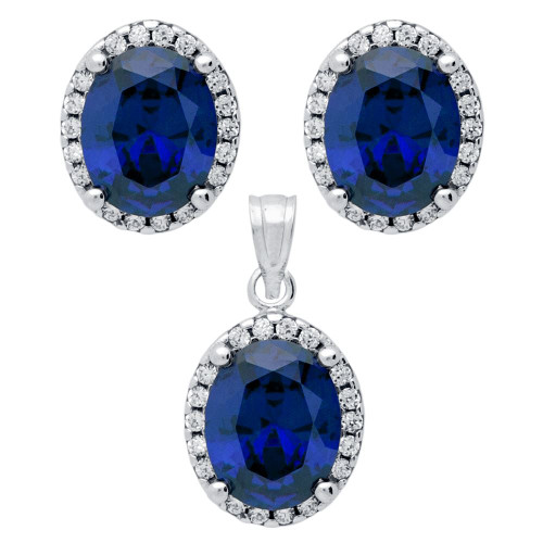 RHODIUM PLATED SET: BLUE 8X10MM OVAL CZ EARRINGS AND PENDANT WITH CZ HALO