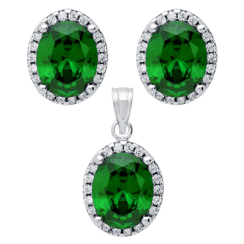 RHODIUM PLATED SET: GREEN 8X10MM OVAL CZ EARRINGS AND PENDANT WITH CZ HALO