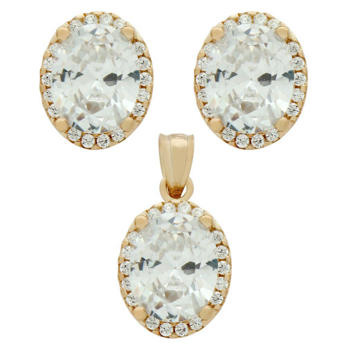 ROSE GOLD PLATED SET: 8X10MM OVAL CZ EARRINGS AND PENDANT WITH CZ HALO