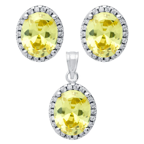 RHODIUM PLATED SET: LIGHT YELLOW 8X10MM OVAL CZ EARRINGS AND PENDANT WITH CZ HALO
