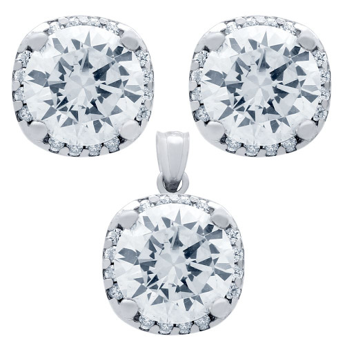 RHODIUM PLATED SET: 9MM ROUND CZ IN SQUARE DESIGN EARRINGS AND PENDANT WITH CZ HALO