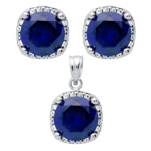 RHODIUM PLATED SET: BLUE 9MM ROUND CZ IN SQUARE DESIGN EARRINGS AND PENDANT WITH CZ HALO