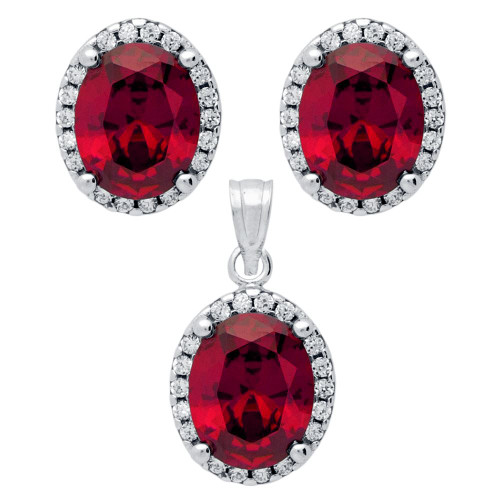 RHODIUM PLATED SET: RED 8X10MM OVAL CZ EARRINGS AND PENDANT WITH CZ HALO