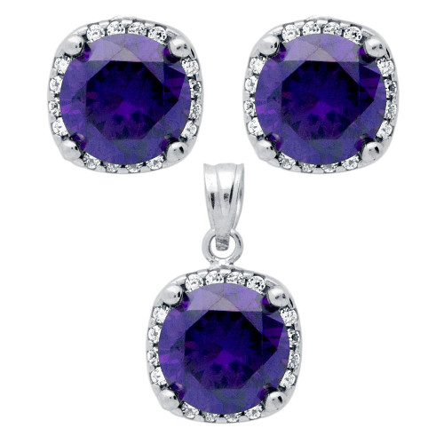 RHODIUM PLATED SET: PURPLE 9MM ROUND CZ IN SQUARE DESIGN EARRINGS AND PENDANT WITH CZ HALO