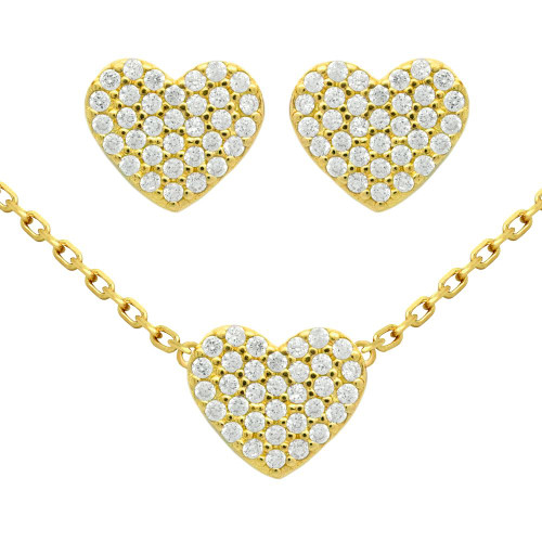 "GOLD PLATED SET: HEART SHAPED CZ PAVE EARRINGS AND 16+2"" NECKLACE"