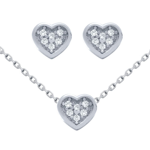 "RHODIUM PLATED SET: HEART SHAPED CZ CLUSTER EARRINGS AND 16+2"" NECKLACE"
