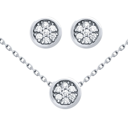 "RHODIUM PLATED SET: ROUND CZ CLUSTER EARRINGS AND 16+2"" NECKLACE"