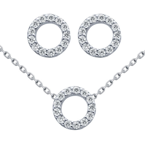 "RHODIUM PLATED SET: 7.5MM RING SHAPED CZ PAVE EARRINGS AND 16+2"" NECKLACE"