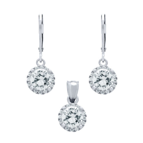 RHODIUM PLATED SET: 6.5MM ROUND CZ EARRINGS AND PENDANT WITH CZ HALO FISH HOOK DANGELING