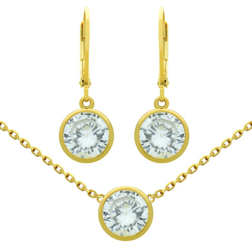 "GOLD PLATED SET: 7.5MM ROUND BEZEL-SET CZ EARRINGS AND 16+2"" NECKLACE"