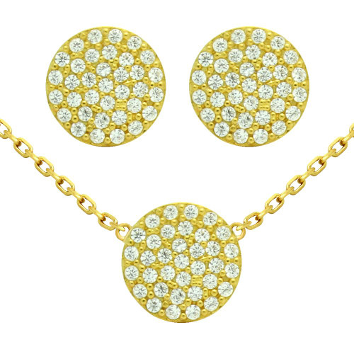 "GOLD PLATED SET: 9MM DISK CZ PAVE EARRINGS AND 16+2"" NECKLACE"