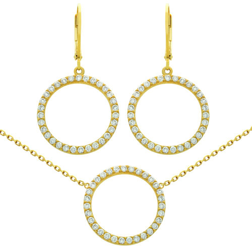 "GOLD PLATED SET: 18MM CZ ETERNITY CIRCLE EARRINGS AND 16+2"" NECKLACE"