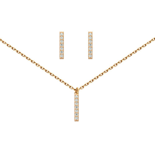 "ROSE GOLD PLATED SET: 13MM LONG CZ PAVE BAR EARRINGS AND 16+2"" NECKLACE"
