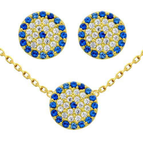 "GOLD PLATED SET: 9MM DISK BLUE EYE CZ PAVE EARRINGS AND 16+2"" NECKLACE"