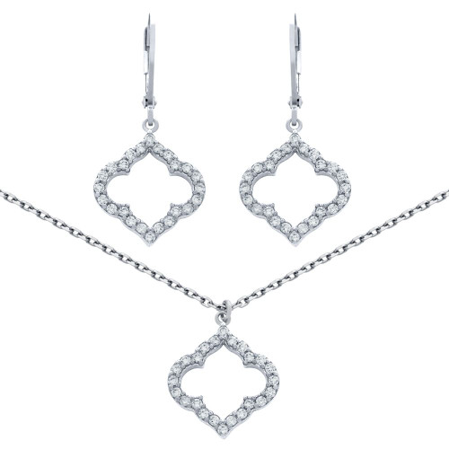 "RHODIUM PLATED SET: CZ PAVE CUTOUT ROYAL CLOVER EARRINGS AND 16+2"" NECKLACE"