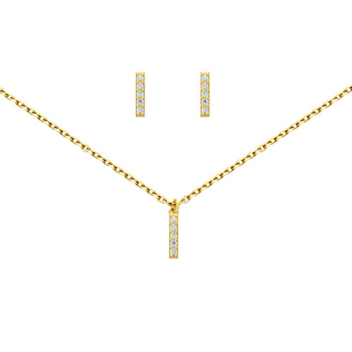 """GOLD PLATED SET: 10MM LONG CZ PAVE BAR EARRINGS AND 16+2"""" NECKLACE"""