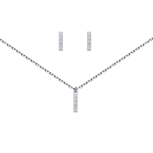 "RHODIUM PLATED SET: 10MM LONG CZ PAVE BAR EARRINGS AND 16+2"" NECKLACE"