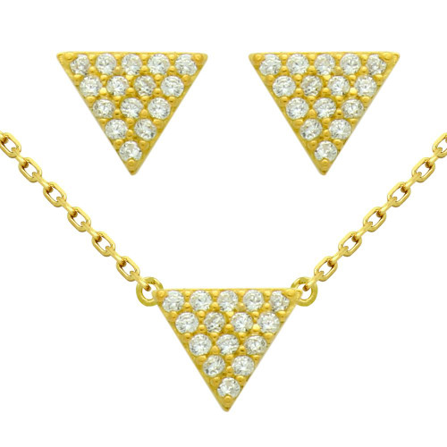 "GOLD PLATED SET: 5MM TRIANGLE CZ PAVE EARRINGS AND 16+2"" NECKLACE"