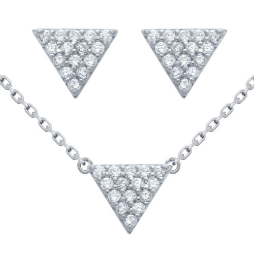 """RHODIUM PLATED SET: 5MM TRIANGLE CZ PAVE EARRINGS AND 16+2"""" NECKLACE"""