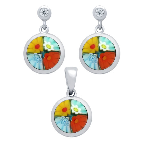 MILLEFIORI SET: MULTI-COLOR 8MM ROUND EARRINGS WITH CZ POST AND PENDANT