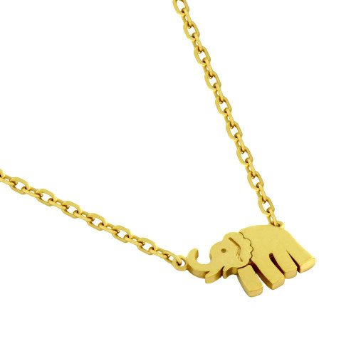 """GOLD PLATED ELEPHANT NECKLACE 16"""" + 2"""""""