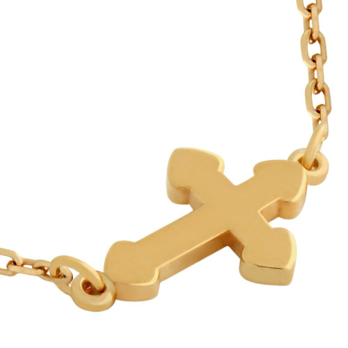 """ROSE GOLD PLATED SMALL SHINY CROSS NECKLACE 16"""" + 2"""""""