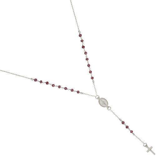 "RHODIUM PLATED GARNET ROSARY NECKLACE 18"" + 2"""