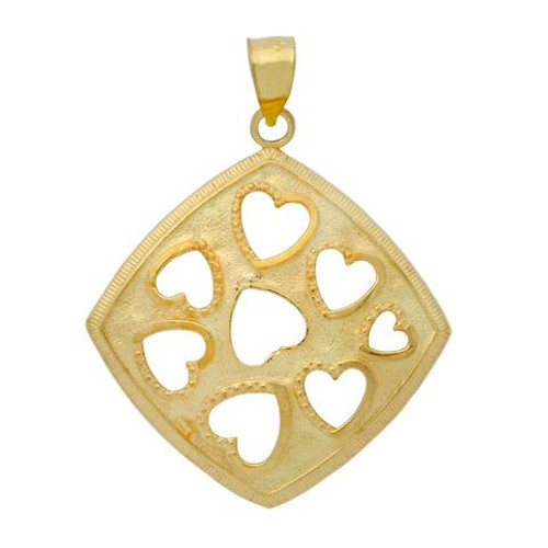 GOLD PLATED CUTOUT HEARTS IN A SQUARE PENDANT