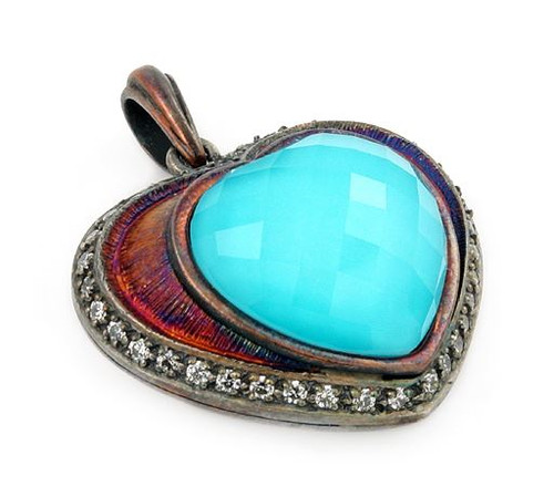 SIGNATURE AUTHENTICO TURQUOISE HEART FACETED DEMIQUARTZ DOUBLET PENDANT WITH COPPER AND SIGNITY CZ