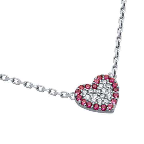 "RHODIUM PLATED CZ HEART WITH PINK OUTLINE NECKLACE 16"" + 2"""