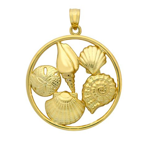 GOLD PLATED ROUND PENDANT WITH SEASHELLS