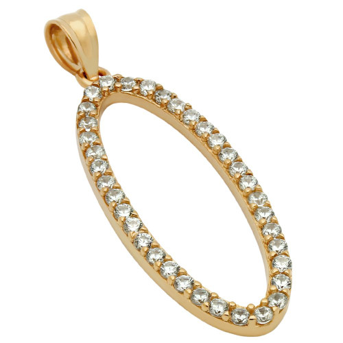 ROSE GOLD PLATED OVAL OUTLINE CZ PAVE PENDANT