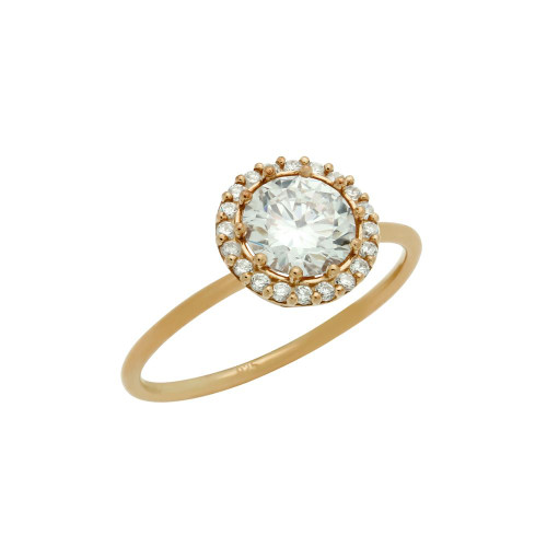 ROSE GOLD PLATED ROUND CZ RING