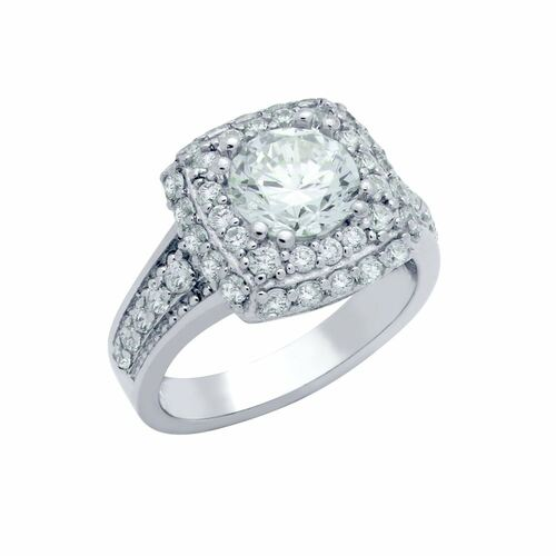 RHODIUM PLATED ROUND CZ SQUARE SHAPE ENGAGEMENT RING