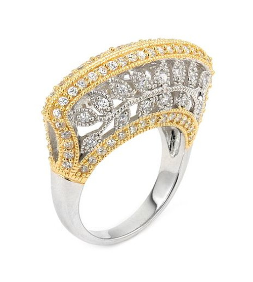 TWO-TONE RHODIUM AND GOLD FASHION RING WITH CZ AND LEAF FILIGREE