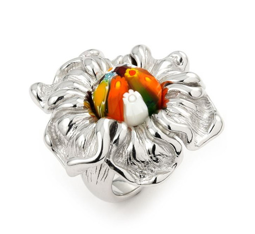 MULTICOLOR FACETED MURANO MILLEFIORI ELECTROFORM FLOWER RING
