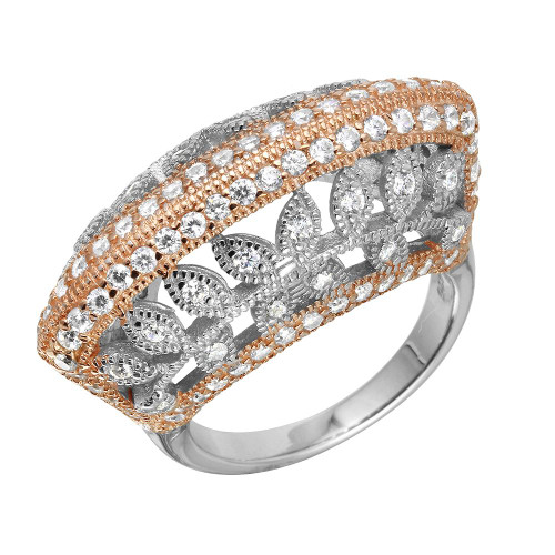TWO-TONE RHODIUM AND ROSE GOLD FASHION RING WITH CZ AND LEAF FILIGREE