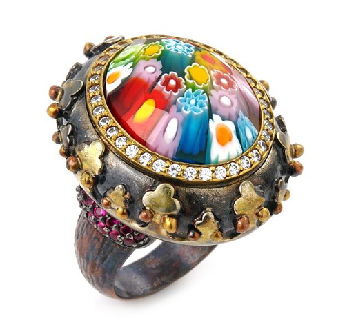 SIGNATURE COLLECTION FACETED MLT MURANO GLASS OVAL RING WITH COPPER ACCENTS AND AND SIGNITY CZ HALO