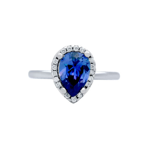 RHODIUM PLATED BLUE TEARDROP CZ RING WITH SURROUNDING CLEAR CZ STONES