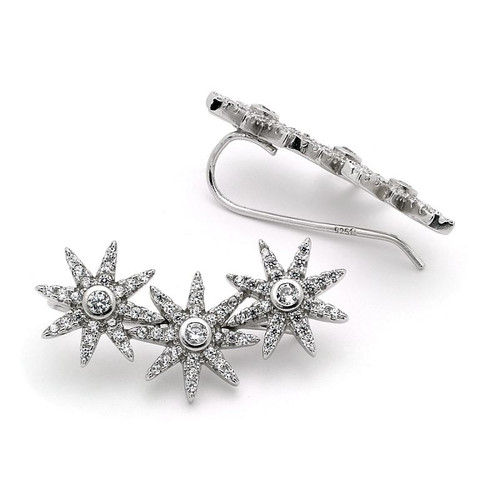 RHODIUM PLATED CZ CRAWLER EARRINGS WITH 11MM FLOWERS