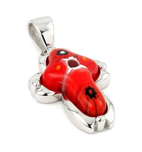 RED MURANO MILLEFIORI SMALL CROSS PENDANT