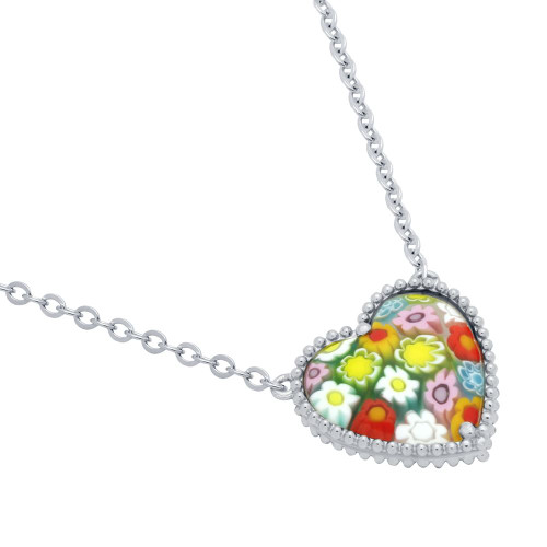 MULTICOLOR MURANO MILLEFIORI HEART SHAPED BEAD DESIGN NECKLACE 16+2""